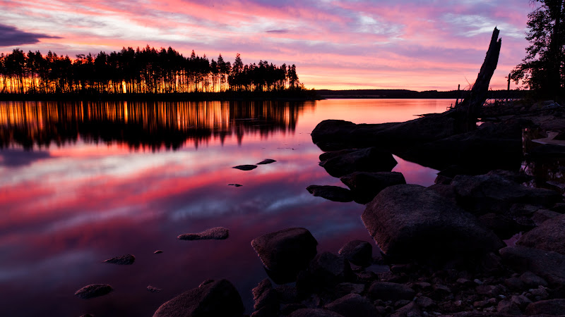 Summer Sunset reflected in Water Lake HD