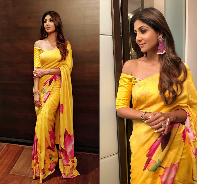 Shilpa Shetty Glows in this Yellow Sari