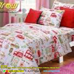 Sprei Custom Katun Lokal Anak Travel Carss Pattern Vehicles Merah Putih