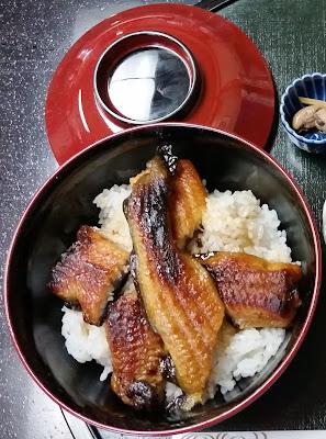 Eel donburi bowl in Oyabe, Japan