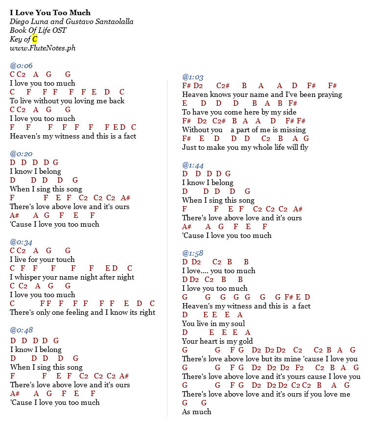 I Love You Too Much The Book Of Life Ost Music Letter Notation