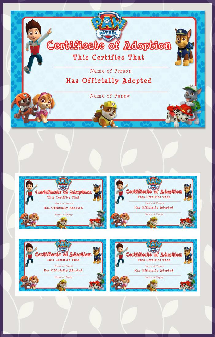 Free Printable Paw Patrol Adoption Certificate Dark Paw Theme - blank adoption certificate template