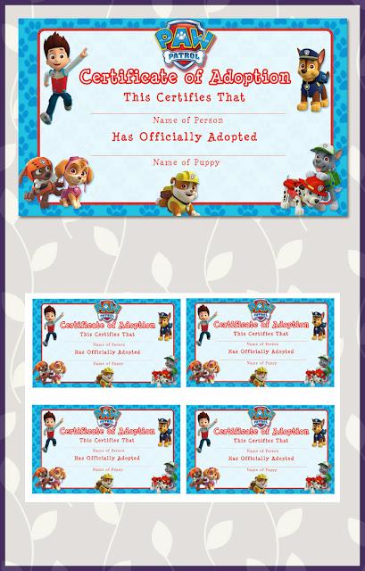 Free printable paw patrol adoption certificate dark paw for Paw patrol invitation template free