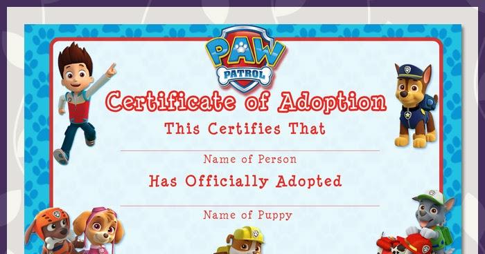 Free Printable Paw Patrol Adoption Certificate | Dark Paw ...
