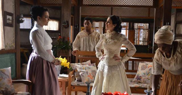 Tereza (Roberta Gualda) figurino vestido branco, Escrava Mãe