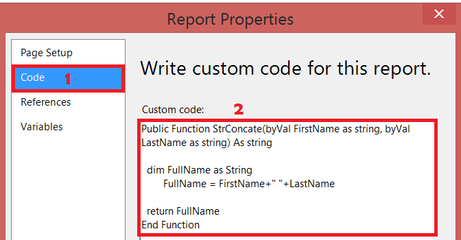 writing custom code for reporting services 2018
