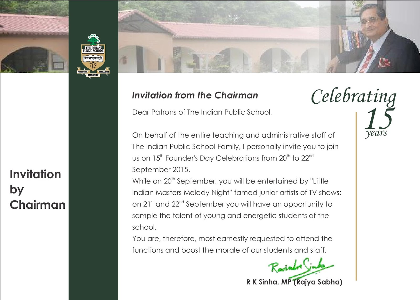 The Indian Public School Dehradun Uttrakhand 15th Founders Day
