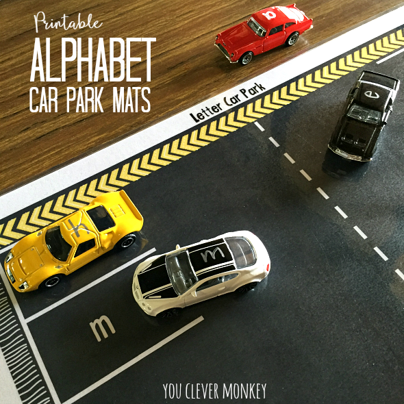 Printable Alphabet Car Parking Mats - simply print and add cars to these car parking mats with both lower and upper case letters for matching. Perfect literacy centre activity for 4-7 year olds | you clever monkey
