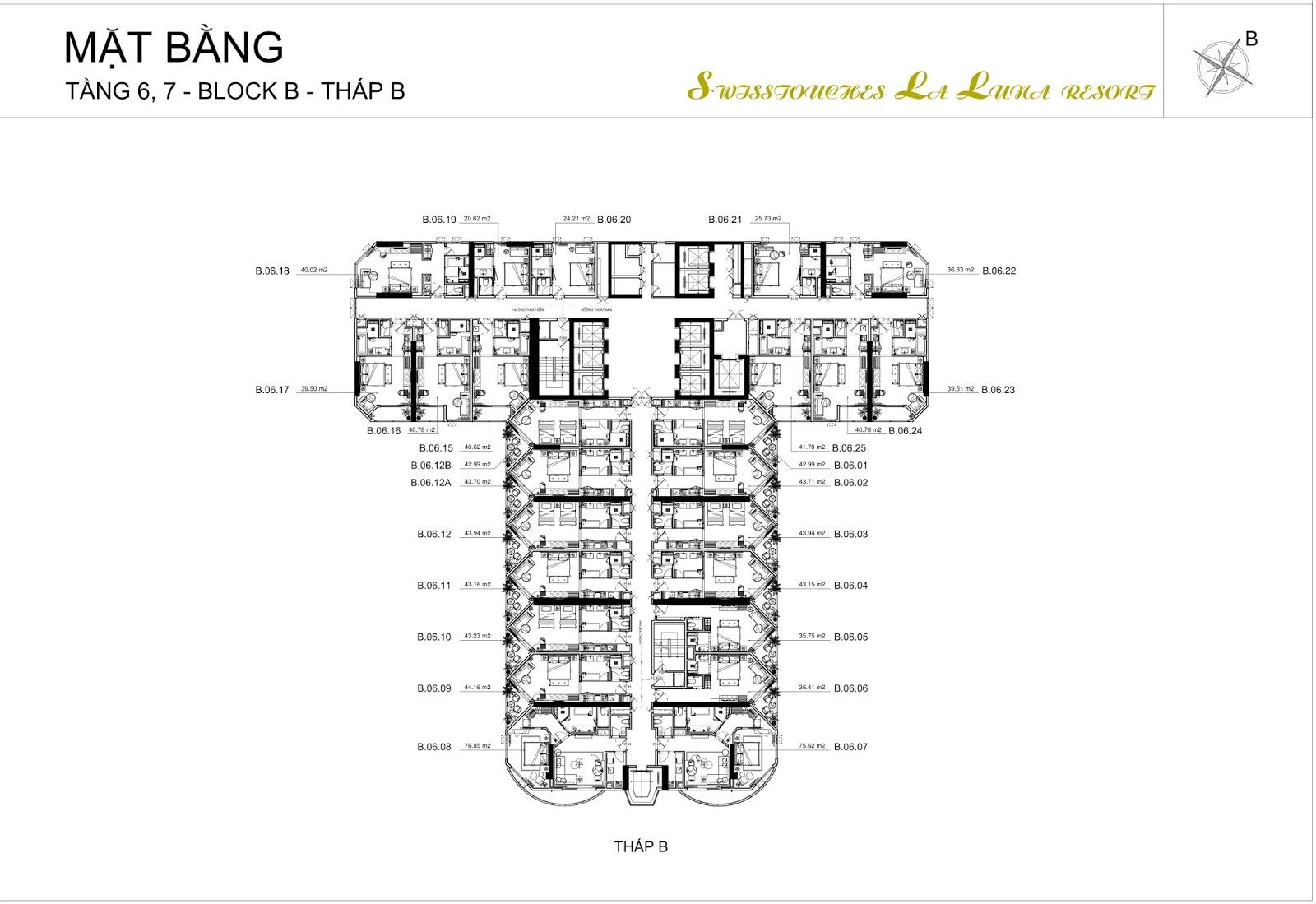 Mặt bằng điển hình tháp B dự án La Luna Nha Trang