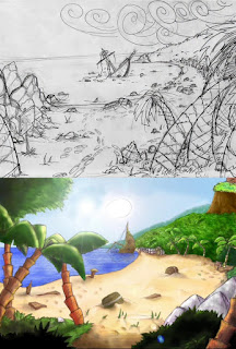 Bocetos El Amuleto de Monkey Island