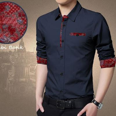 BAJU Batik Pria Navy! Model Baju Kemeja Pria Terbaru Bj0029!