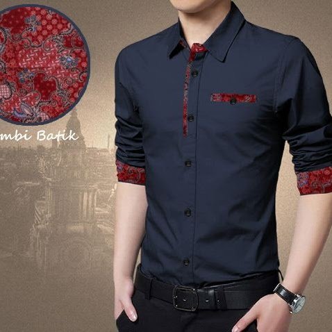 Baju Batik Pria Navy Model Baju Kemeja Pria Terbaru Bj0029