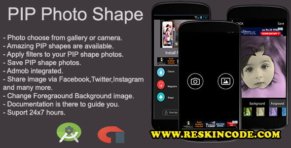 PIP Photo Shape Android App – Codecanyon 16728922