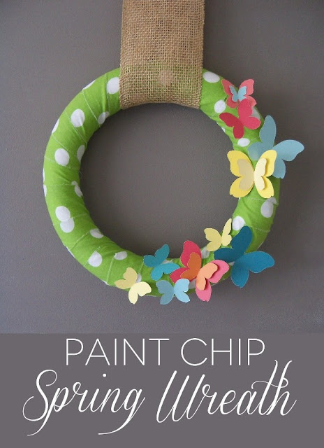 Paint Chip Butterfly DIY Spring Wreath via Sister's Suitcase