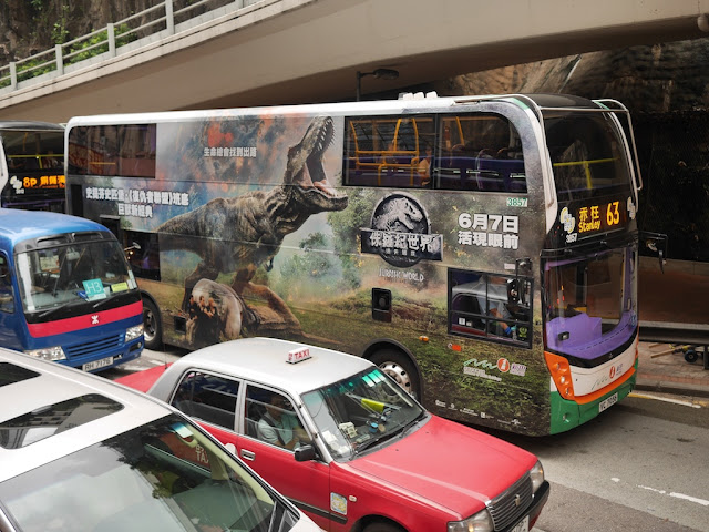 Jurassic World movie ad on a Hong Kong bus