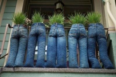 Memanfaatkan denim atau celana jeans bekas menjadi pot tanaman yang nyeleneh. Kemudian pajang pot denim ini di depan pagar teras, sehingga pot denim memiliki fungsi ganda: pagar dan pemberi privasi.