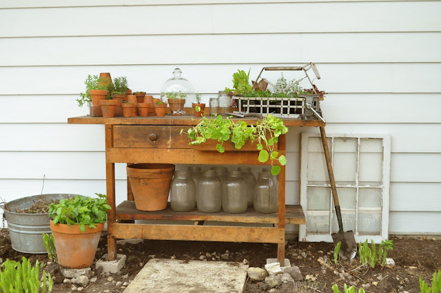 Work bench made into a potting bench