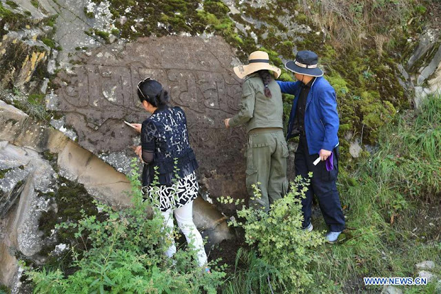 Rock inscription of Tibetan Buddhist texts found in northwest China
