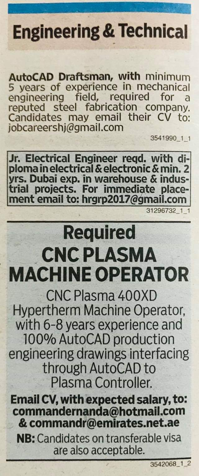 Required Electrical Engineer Autocad Draftsman Cnc Machine Operator For Uae Local Hiring Jobs Khaleej Times Uae 0301103 Jobs In Abroad
