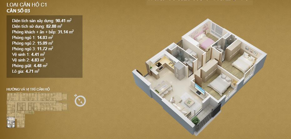 Căn hộ 03 tầng 33