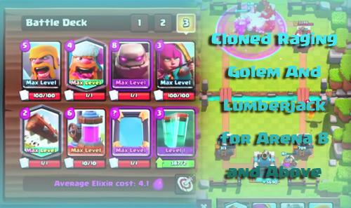 Kloning Hebat Deck Golem+Lumberjack Arena 8-10 clash royale