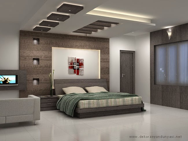 yatak odası alçıpan asma tavan modelleri