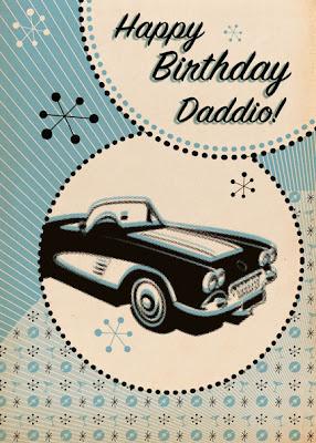 retro car birthday card