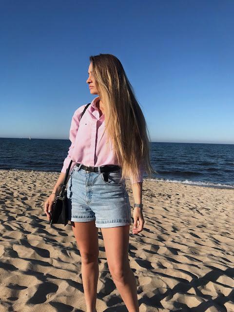 Koszula i jeansowe szorty