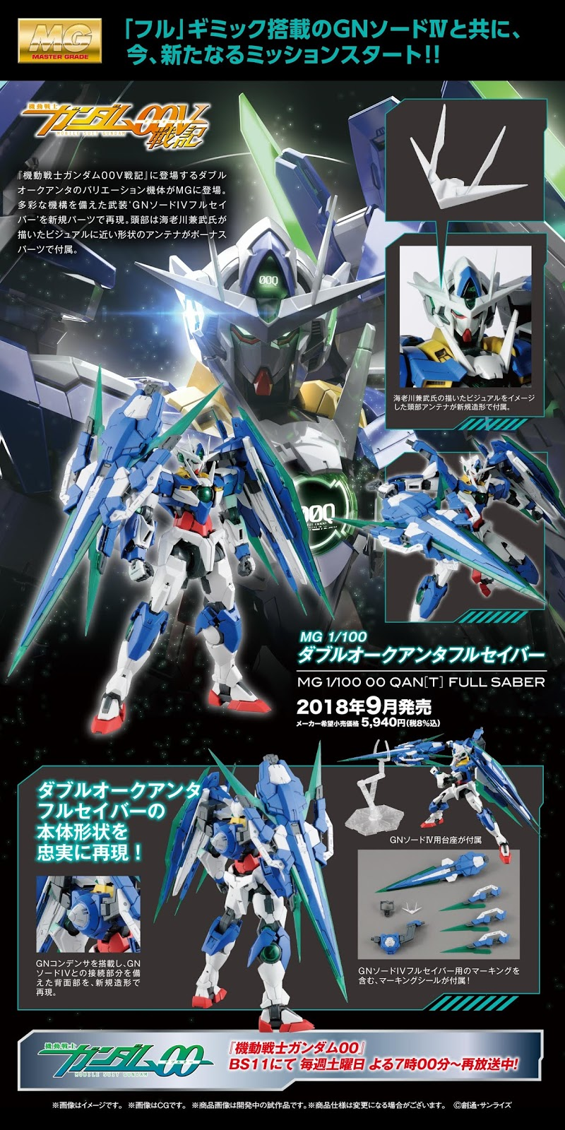 MG 1/100 00 Quanta Full Saber - Release Info - Gundam Kits Collection News and Reviews