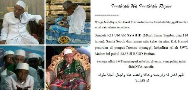 Inna Lillahi, KH Umar Syahid Pacitan Meninggal Dunia