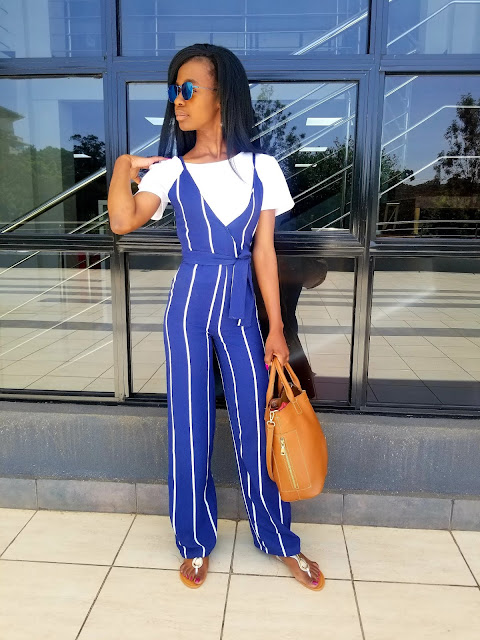 How To Wear A Striped Jumpsuit Casually