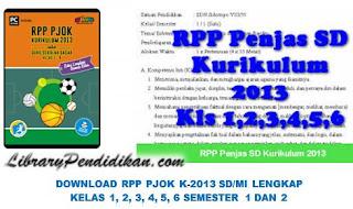 DOWNLOAD RPP PJOK K-2013 SD/MI LENGKAP KELAS 1, 2, 3, 4, 5, 6 SEMESTER 1 DAN 2