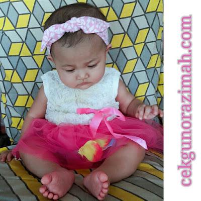 dhia zahra, baby 8 bulan, bajet model