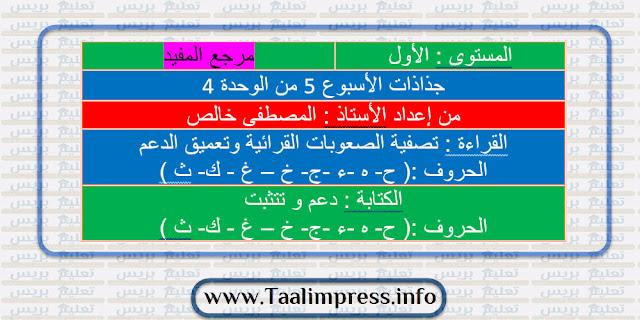 جذاذات الأسبوع الخامس من الوحدة الرابعة المفيد في اللغة العربية للمستوى الأول ابتدائي