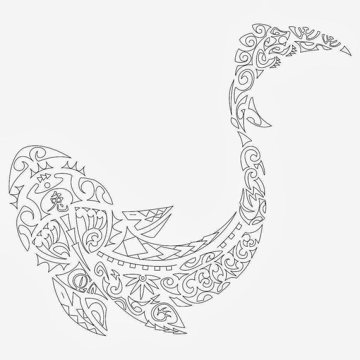 Shark Maori tattoo stencil