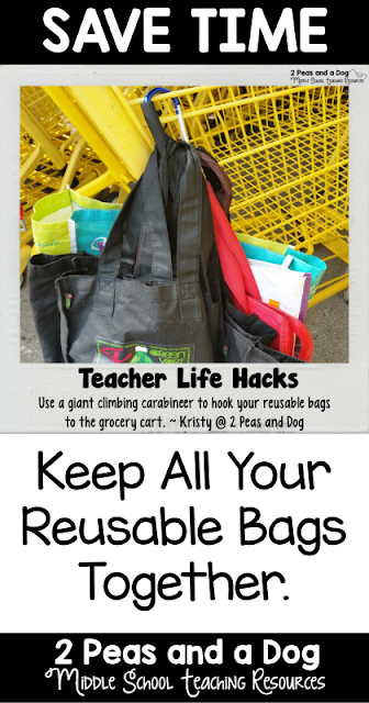 Keep all of your reusable bags together in one spot using this tip from the 2 Peas and a Dog blog.