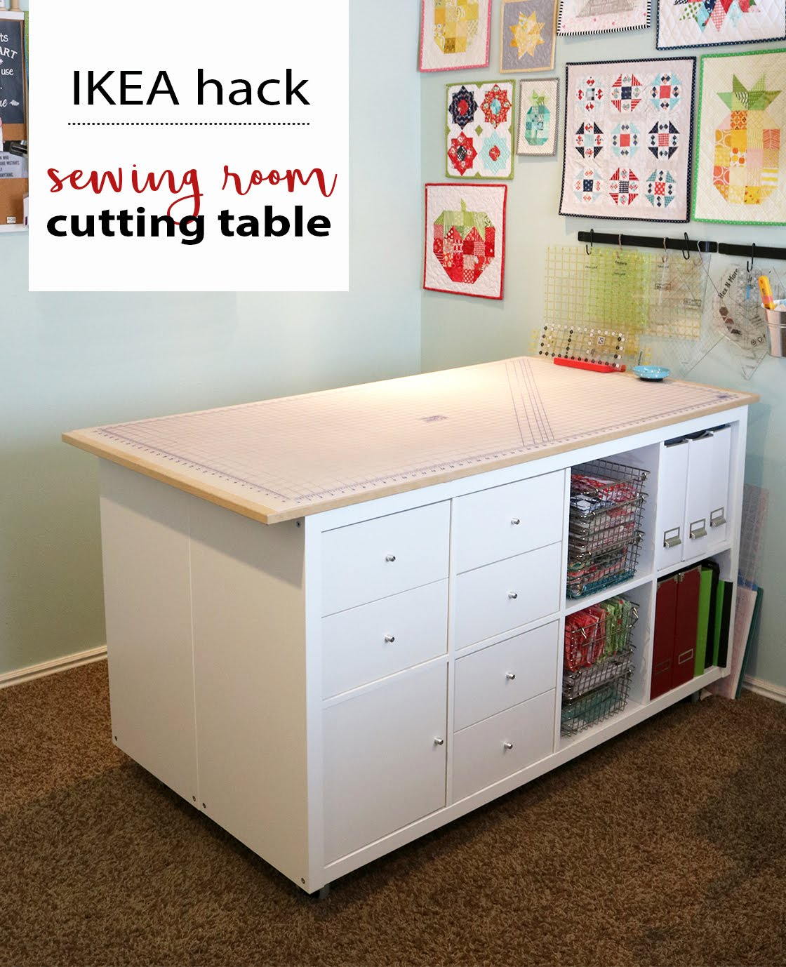 Ikea Hacks A Bright Corner Diy Sewing Room Cutting Table Ikea Hack