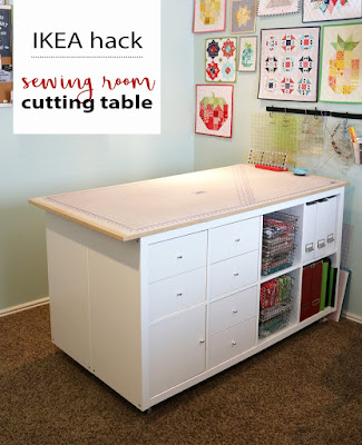 Sewing Room Cutting Table IKEA hack from Andy of A Bright Corner