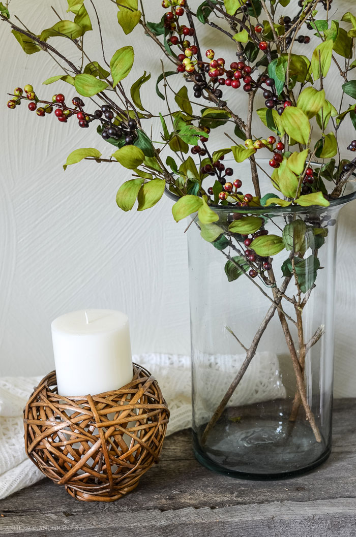 Learn how to transform faux flowers, leaves, and berries into realistic looking branches  to use for decorating your home.  Tutorial at www.andersonandgrant.com