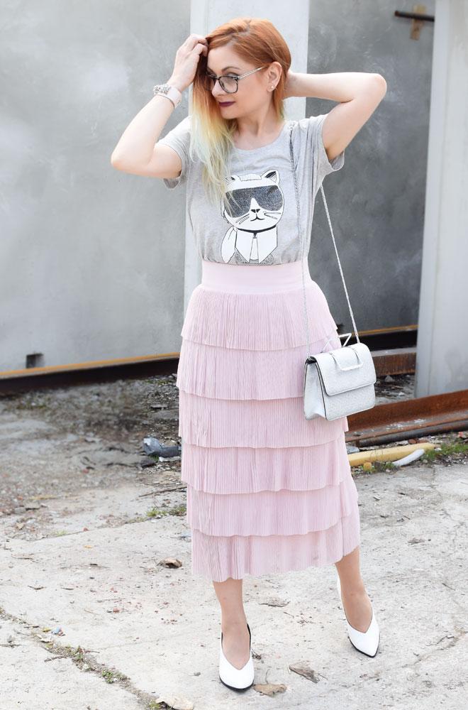 Shirt mit Choupette, rosa und grau