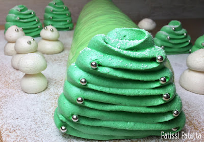 bûche design, bûche mousse, vanille, ananas, caramel, décoration en meringues, glaçage miroir, bûche verte, bûche de Noël, christmas pudding, patissi-patatta