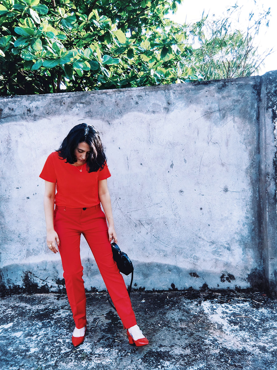 summeroutfitinspiration,allredoutfit,Next womens Red Top, mango red Highwaist trousers ,Zara Red Patent Block Heel,Zara Black Velvet Mini Bag  ,the style panorama , dheerajoshi