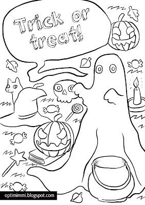 A coloring page (or card) for Halloween / Värityskuva (tai -kortti) Halloween-teemaan