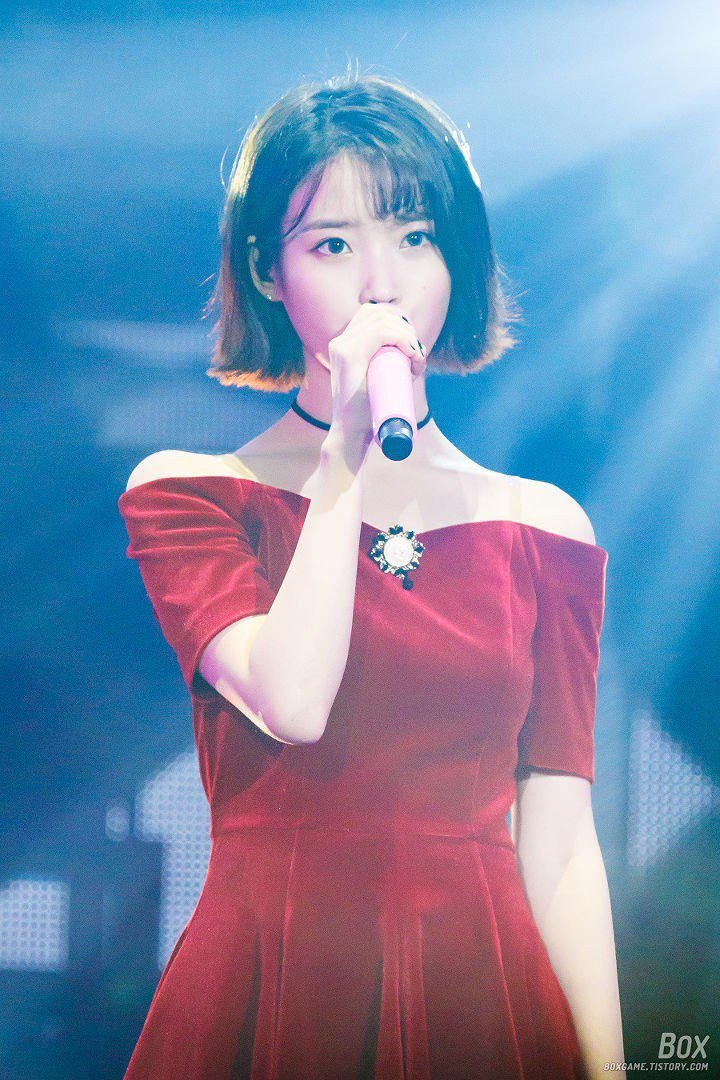Instiz Iu Is In Her Best Days Short Hair Red Dress