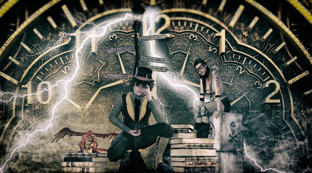 Two steampunkers and a miniature dragon sit among a stack of books with a clock looming in the background.
