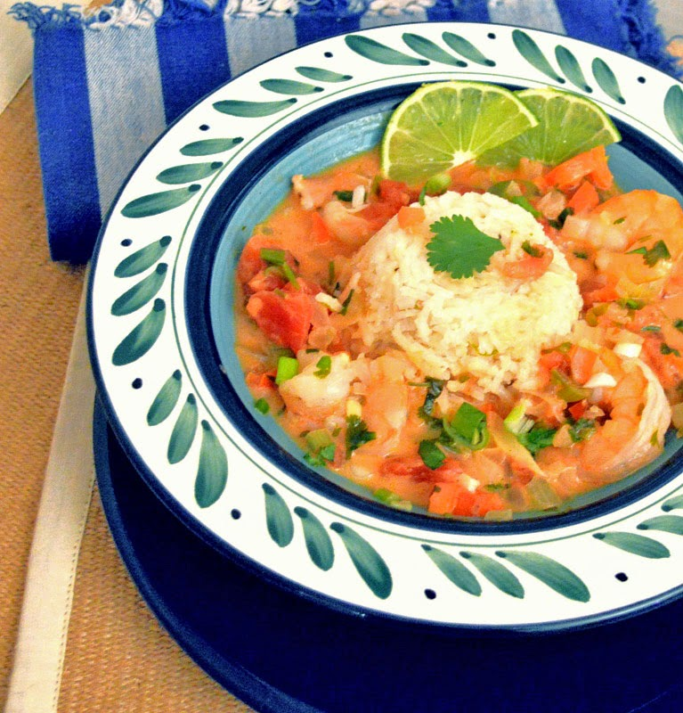 Coconut Lime and tomato shrimp stew