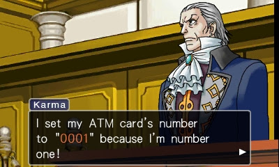 Phoenix Wright Ace Attorney Manfred von Karma ATM card number 0001 number one bank