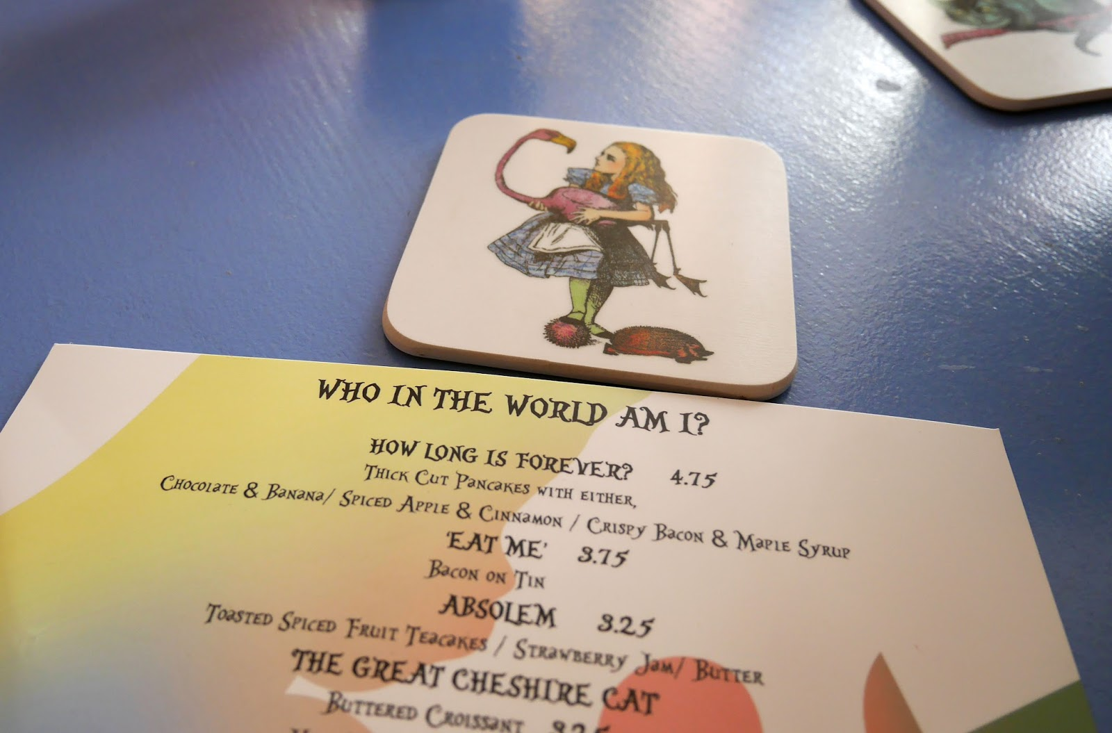 Alice and the Hatter's Wonderland themed menu