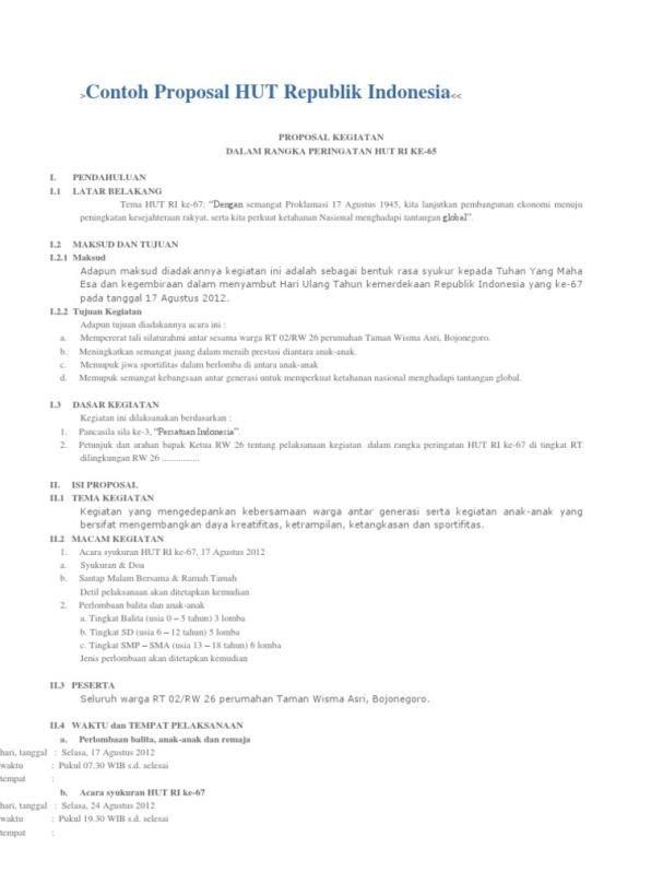 contoh proposal kegiatan 17 agustus 1945