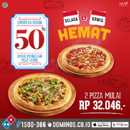 Promo DOMINO PIZZA sampai 50%